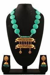 SPJ010 Torqouise Shajree Beads Adorned Golden Pendants