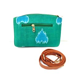 Cotton Adjustable Green Printed Sling Bag, for Casual Wear