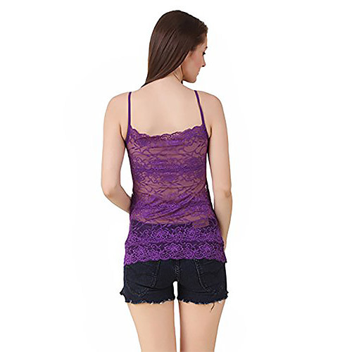 ac985ede5580bf Blue Cotton Spandex Women Padded Net Camisole