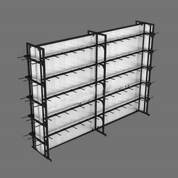Free Standing Unit Metal Accessory Display Racks, For Showroom, 5 Shelves