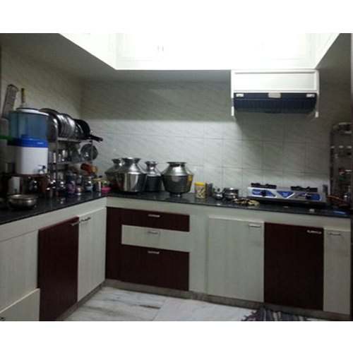 l shape l shaped pvc modular kitchen kitchen cabinets rs
