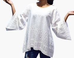 White Round Neck Embroidered Cotton Top