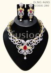 American Diamond Ruby Studded Necklace Set