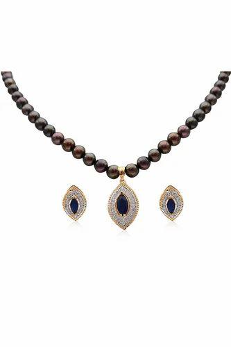 Attractive Black Pearl Necklace Set पर ल क ह र क
