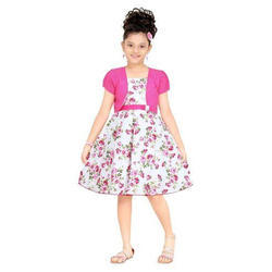 Regular Wear Pink And White Girls Cotton Frock