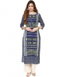 Straight Asymmetric Blue Cotton Kurta