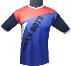 SPORTSHELPLINE Printed Blue And Red Sublimation Superpoly T-Shirt
