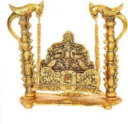 Bharat Handicrafts Laddu Gopal Bal Kishan Jhoola Golden Gold Plated