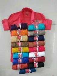 Cotton Black Mens Plain Casual Shirts