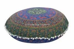 Indian Floor Pillow Cover Mandala Screen Printed Throw Cushion Cover Round Floor Cushion Cover