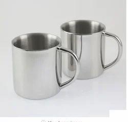 Silver Double Wall Mug, Size: 9.5 X 10 Cm