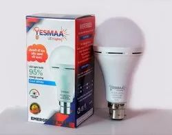 Round Cool Daylight 9 Watt Eco Ac Dc Rechargeable Bulb, Base Type: B22, Power Consumption: 11 w - 15 W