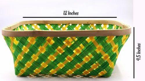 Square Green,Yellow Handmade Bamboo Basket