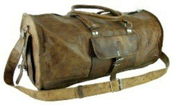 Vintage Leather Round Carry Duffel Bag