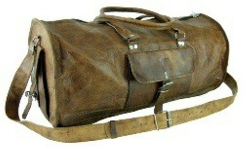738baf2cd671 Vintage Brown Leather Round Carry Duffel Bag