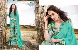 Sea Green Crepe Silk Designer Saree