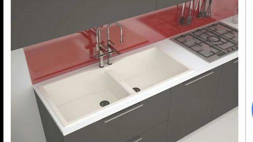 vistaar granite quartz double bowl kitchen sink without drain rh indiamart com round kitchen sinks with draining board kitchen sink with double draining board