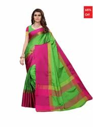 5aff473bbe1cef Bhelpuri Green   Pink Cotton Casual Wear Woven Saree with Blouse Piece