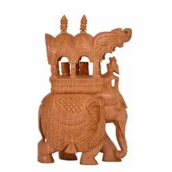Wooden Carving Maharaj Elephant/Ambabari for Home Decor, Size: 10 inch