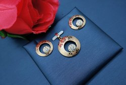 Artificial Jewelry American Diamond Laser Printed Pendant Set, Size: Free Size