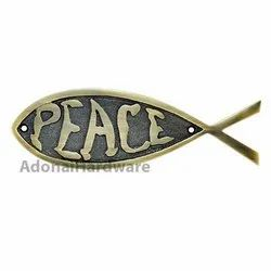 Peace Brass Fish Sign