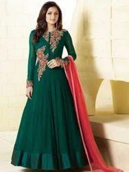 Georgette Dark Green Embroidered Anarkali Suit