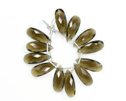 Champagne Quartz Faceted Pear Beads