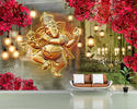 Pvc 3d Golden Ganesha Printed Wallpaper