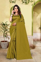 Plain Cotton Silk Saree with Running Blouse