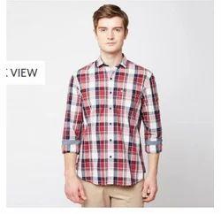 Red 07E Indigo Checks Full Sleeve Trim Fit Shirt
