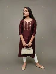 Straight 3/4th Sleeve Party Wear Silk Kurti, Handwash