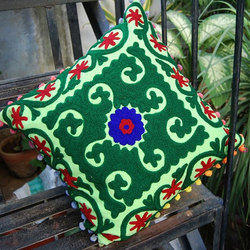 Green Embroidery Cushion