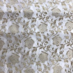 Weaving Silk Dyeable Jacquard With Badla, For Garment, GSM: 100-150