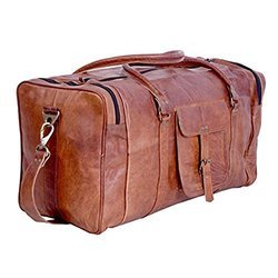 Vintage Brown Leather Duffle Luggage Bag