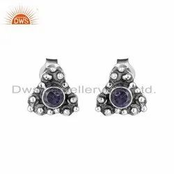 Iolite Gemstone Womens 925 Silver Oxidized Stud Earrings