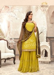 Designer Fancy Embroidered Stitch Gharara Suit, Size: L And Xl