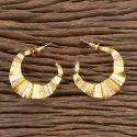 Brass Golden Designer Gold Plated Chand Earring 406303