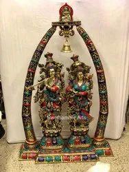 Swethamber Arts Brass Radha Krishna Statue