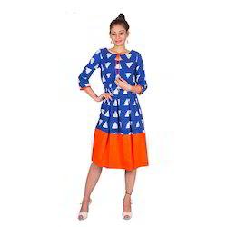 Designer Indigo Kurti In Orange Combination 3/4 Sleeves