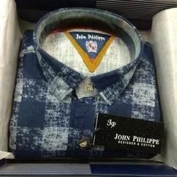 38.0 , 44.0 Blue Men's Printed Shirt