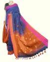 Blue Unstitched Handlum Saree, Linen, Packaging Type: Plastic Bag