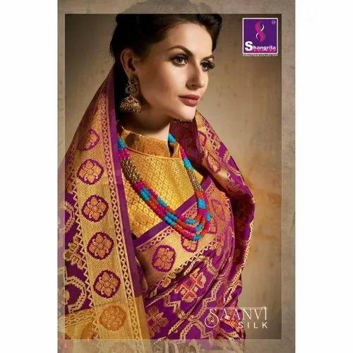 328323a565 Banarasi Pure Silk Saree With Blouse Piece, Rs 1085 /piece | ID ...