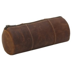 Round Shape Brown Leather Portable Pencil Holder