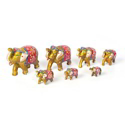 Paper Mache Gold Elephant Set 414