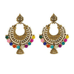 Golden Multicolor Alloy Chandbali Earring