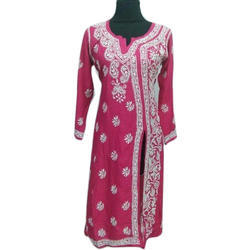 Marron Full Sleeve Rayon Chikan Hand Embroidery Gown