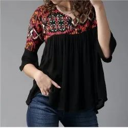 Viscose Rayon 3/4th Sleeve Women Black Printed A-Line Top