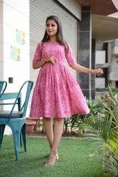 Ladies Floral Printed Flare Dress