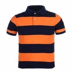Cotton Striped Mens Collar T Shirt
