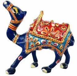 Metal Meenakari Camel Kathi Statue Enamel Work